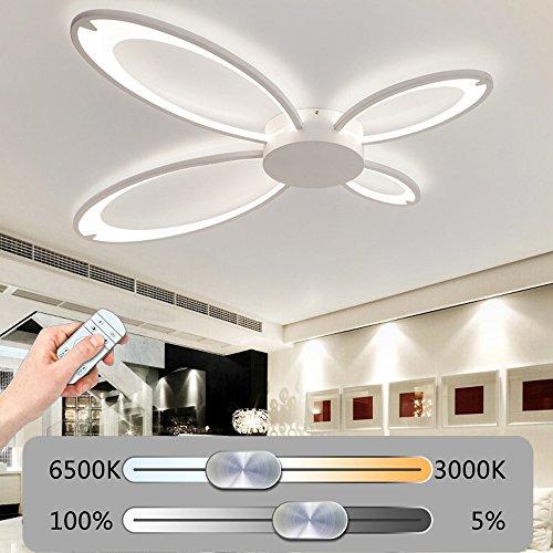 Modern LED kreative Schmetterling Deckenleuchte Stufenlos Dimmbar Deckenlampe mit Fernbedienung Beleuchtung Weiß Acrylschirm Design Minimalistischen Wohnzimmerlampe Schlafzimmerleuchte Dekoration (98W- 100CM * 85CM)