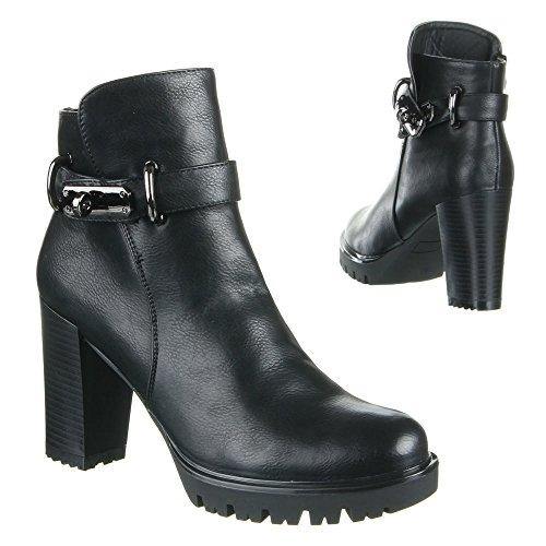 Damen Schuhe, B12211, STIEFELETTEN Schwarz
