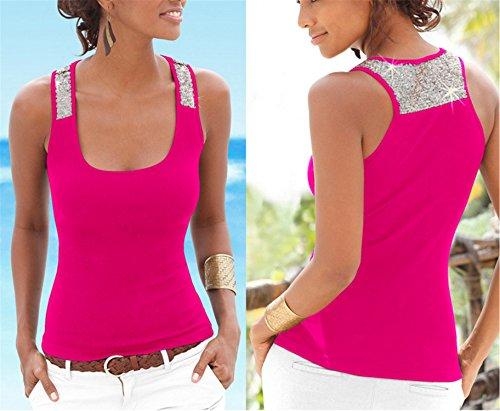 YOGLY Damen Damen Pailletten Shirt Träger Top Weste Top Oberteil Ärmellos T-Shirt Tanktop Blouse Rosarot