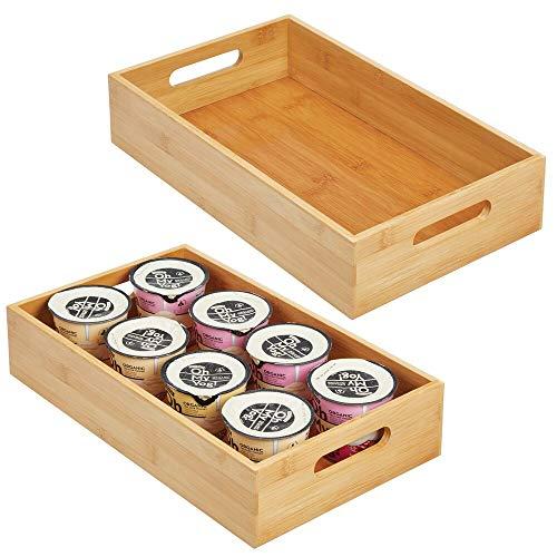 mDesign Juego de 2 cajas organizadoras con asas - Práctico cajón de madera para almacenar alimentos, especias, nueces o botellas - Organizador de cocina abierto en madera de bambú - color bambú