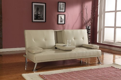 Cinema Style Futon Sofabed With Drinks Table Sofa Bed Faux Leather in Cream