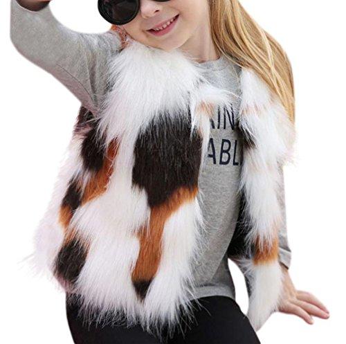 stpelzmantel Hirolan Fake Felljacke Baby Mädchen Faux Pelz Weste Dick Mantel Warm Outwear Kleider Ärmellos Täglich Fellimitat Prinzessin Mädchenkleider (130cm, Mehrfarbig) ()