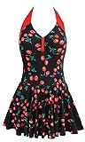 SISSIJOE Damen Retro Vintage Einteiliger Badekleid V Ausschnitt Badeanzug mit Röckchen Tankini Bikini Monokinis Gr.M-4XL Kirsche XXXX-Large