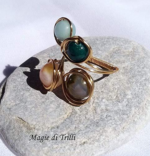 Magie di trilli - anello artigianale regolabile donna in filo per gioielli dorato, con pietre dure di agata, corniola e amazzonite - idea regalo san valentino