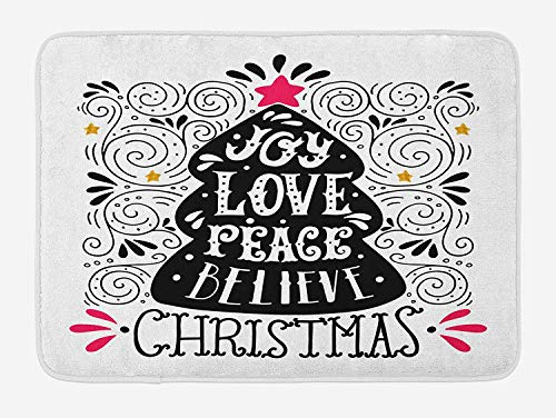 BBABYY Joy Bath Mat, Abstract Christmas Tree Pattern with a Tree Topper Curlicues Swirled Lines, Plush Bathroom Decor Mat with Non Slip Backing, 23.6 W X 15.7 W Inches, Dark Coral Black White (Topper Western Tree)
