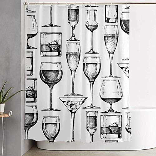 GUUi Shower Curtain Waterproof Washable Bath Curtain,Seamless Vector Pattern with Different Glasses Goblets and Wineglasses,for Bathroom with 12 Hooks American Water Goblet
