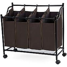 Songmics Cesto para la colada con 4 compartimentos ruedas Carrito de lavandería marrón LSF005Z