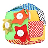 Giocattolo precoce per bebè, strumento per lo sviluppo delle scoperte di attività Cubo morbido per imparare le abilità della vita Zip Lacci e fibbia