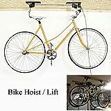 Proline Fahrradträger Hebebühnen mit Hebel Halterung Aufzug Fahrrad porte- Fahrrad Aufbewahrung Garage Speicherung Decke Hebebühne, Kleiderbügel bis 20 kg, Horizontal Bike Flaschenzug