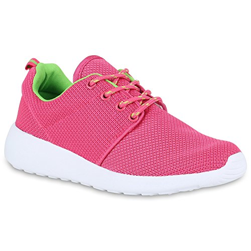 Damen Sportschuhe Muster |Laufschuhe Runners | Sneakers Schuhe Strass Metallic Pink Neongrün