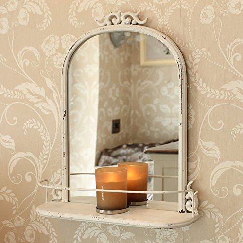 Antique Shabby Chic Ivory Metal Bathroom Wall Mirror Shelf Cosmetic Shaving