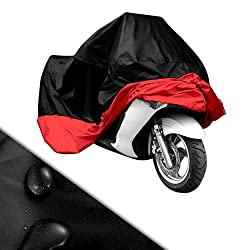 von Surepromise AUS DEUTSCHLAND Gr. XL/XXL/XXXL Motorrad Garage Ganzgarage Abdeckplane Plane Faltgarage Schutz Covermit Tasche (XXL, schwarz&rot)