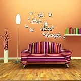 """ufengke® 3D """"Live"""" & """"Love"""" & """"Laugh"""" Mariposa Efecto de Espejo Pegatinas de Pared Diseño de Moda Etiquetas del Arte Decoración del Hogar Plata"""