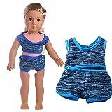 HKFV Handgemachte Kleidung Bademode Badeanzug für 18 Zoll American Girl Doll Geschenke 18-Zoll-amerikanische Puppe Badeanzug + Badehose (Blau)