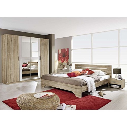 AVANTI TRENDSTORE - Rubi - Camera da letto completa in laminato di quercia sanremo chiaro/ bianco - compreso il fusto del letto con 2 comodini e l'armadio ad ante a battente con specchio