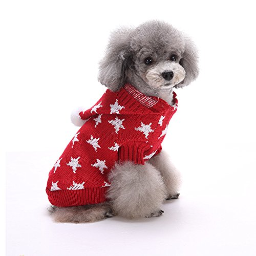 EgBert Christmas Star Winter Warm Sweater for Pet Dog Cat Hoodie Pappy Jumpsuits with Hat - Rot - L -