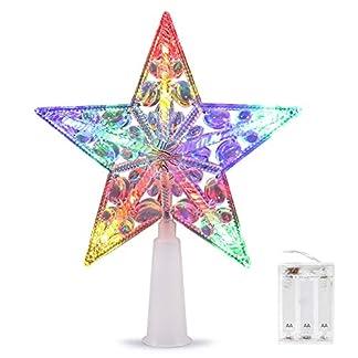 Árbol de Navidad Top Estrella, VOLADOR Estrella para Árbol de Navidad 6 pulgadas, Colores Múltiples Luces de Navidad para Decoraciones Navideñas