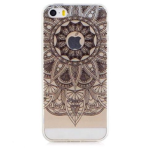 KSHOP TPU Silikon Hülle für iphone SE/iphone 5 /iphone 5s Handyhülle Schale Etui Protective Case Cover dünn mit Drucken Muster - indische Mandala Sonne Blume Schwarz