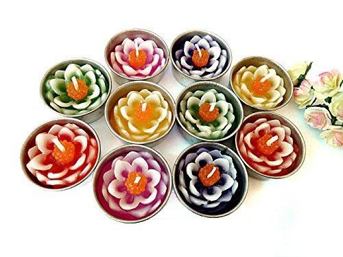NAVA CHIANGMAI Nava Chiang Zwei Ton Lotus Blume Kerze in Teelichter, Schwimmende Kerzen, Duft Teelichter, Aromatherapie Relax (Pack von 10Pcs.) (Schwimmende Lotus Kerzen)