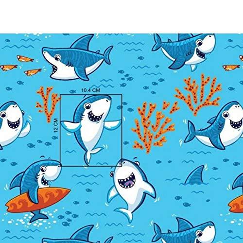 Pingianer 100 x 160 cm 100% algodón tiburón pequeño tiburón Pescado Tela...