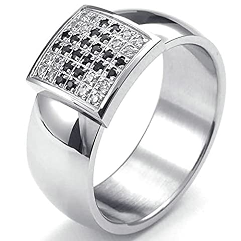 Aooaz Gravure Libre Ring For Men Silver Black And White Zirconia Taille 66.5 Wedding Promise Novelty