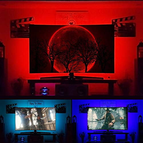 JAUPH TV Backlight Kit for 30 to 60 inches HDTV USB Powered LED Strip Lights for Home Theater Ambient Behind Flat Screen TV Bias Lighting 6.6 ft RGB PC/TV Black Strip Light - Reduce Eye Strain