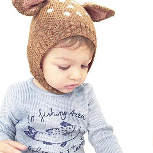 Mütze Baby Hüte Wintermütze Hut Wintermütze Warme Schlupfmütze Mütze Beanie Ballonmütze Schlupfmütze Junge Mützen Haube Kapuze Mützen Hüte Strickmützen Mädchen LMMVP (Kaffee)