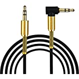 Inverse 3.5mm Jack Audio Cable Male To Male 90 Degree Right Angle AUX Cable (Black)