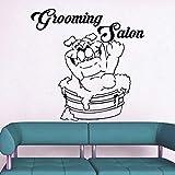 yaoxingfu Toilettage Salon Stickers Muraux Pet Chien Vinyle Autocollant Mural Décor Étanche Boutique Mur Fenêtre Décoration Stickers Muraux Animal Carte Couleur 56x56cm