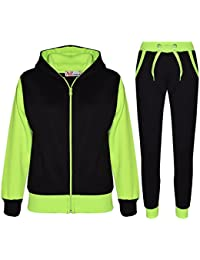 5cfd68cad31 A2Z 4 Kids® Kids Tracksuit Girls Boys Designer s Plain Contrast Fleece  Hooded Hoodie Bottom Jogging