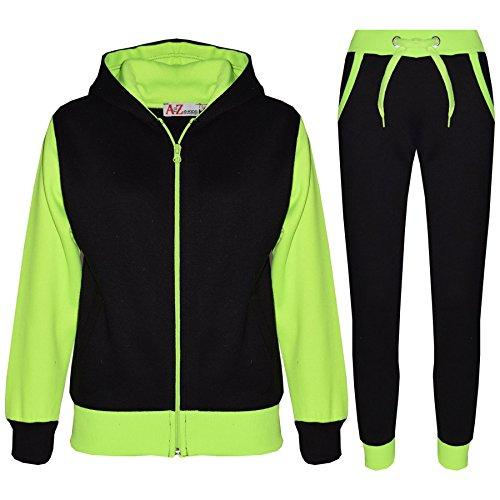 A2Z 4 Kids® Kinder Trainingsanzug Mädchen Jungen Designer Plain Kontrast - T.S Plain 101 Neon Green 9-10