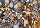 Royal Gold und Silber Mix – 340 Rondelle Glasperlen im Kristall-Look in den Farben Gold und Silber in 3mm, 6mm und 8mm perfekt für Schmuckherstellung