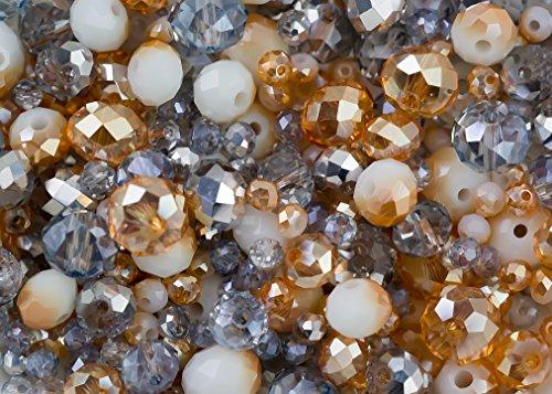 Royal Gold und Silber Mix – 340 Rondelle Glasperlen im Kristall-Look in den Farben Gold und Silber in 3mm, 6mm und 8mm perfekt für Schmuckherstellung Glasperlen