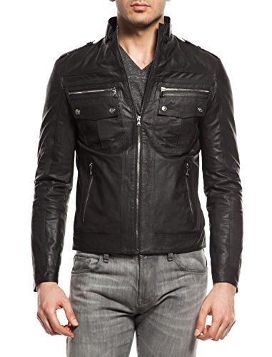 DGC Leather - Blouson - Style biker - Col Mao - Homme Schwarz