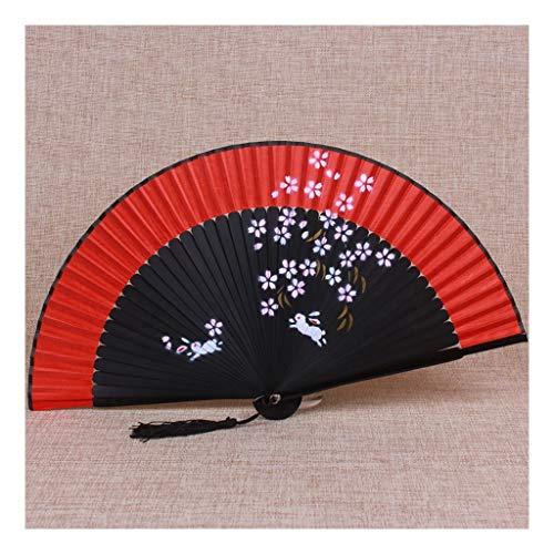 JUWOJIA Novia Rojo Brillante Abanico Chino Antiguo Ventilador Plegable Dama Japonesa La Clásica Artesanía Seda Regalo Ventilador (21Cm) Gran Conejo Rojo