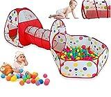Kinder spielen Zelt-Tunnel-Set 3 in 1 mit Reißverschluss-Tasche Kids Indoor Outdoor Spielplatz Spiele spielen Spielzeug (Schwarz)