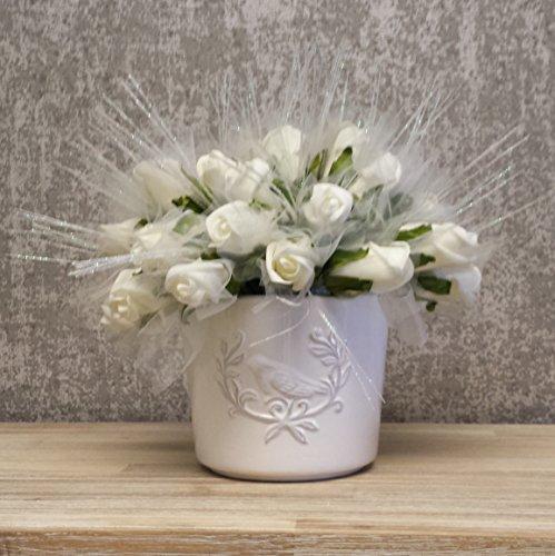 Oiseau en céramique Pot à fleurs avec finition vernis blanc, Détails Oiseaux décorative. Idéal pour les herbes, les plantes et les arrangements.