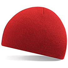 Malloom® Hombres Mujeres universal Invierno Unisex Beanie cúpula Sombrero Slouchy Baggy tejer Gorra de esquí (rojo)