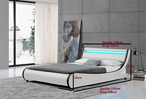 Cherry Tree Furniture HEKA Designer LED Light Headboard WHITE Faux Leather Upholstered Bed Frame Bedstead (4FT6 DOUBLE)