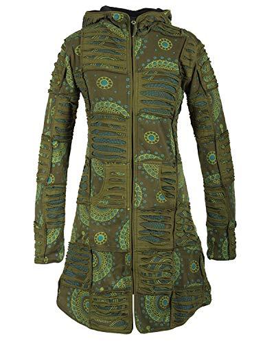Vishes - Alternative Bekleidung - Damen Hippie Patchworkmantel Baumwolle Cutwork Druck Zipfelkapuze Olive 44