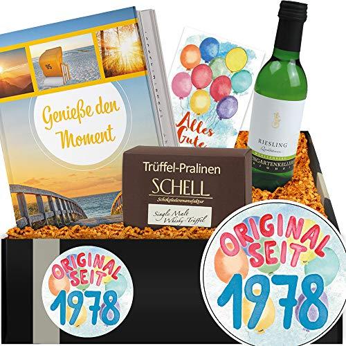 Original seit 1978 | Geschenkbox mit Weißwein | Geburtstag Freundin