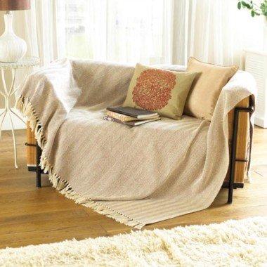 Sofaüberwurf - Natur-Beige - Mehrfarbig, Klein, 100% Baumwolle