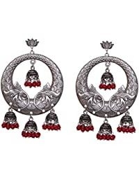 Sansar India Oxidized Silver Plated Lotus Stud Chandbali Jhumka Multi Jhumki Earrings For Girls And Women