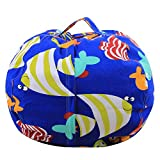 Hungrybubble Extra große gefüllt Tier Lagerung Sitzsack Stuhl Spielzeug Organizer Ball Form mit Griff (Color : Blue F, Size : 32'')