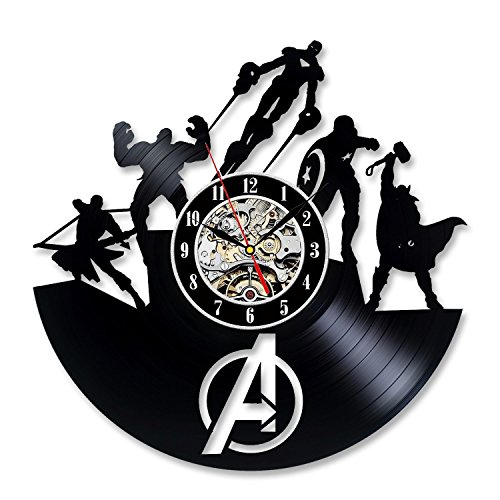 (NEU. 2018 Hot Avengers Super Heroes Thema Vinyl Schallplatte Wanduhr Home Decor Moderne & Vintage Design Interieur 12 in-gift Idee für Herren Kinder Boy Friend Dad Mom Paar Weihnachten und Halloween)