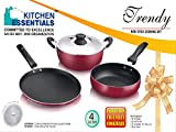 Kitchen Essentials INDUCTION NONSTICK COOKWARE SET 4PC KADAI 22cm,TAWA 26cm,FRY PAN 22cm VR165 best price on Amazon @ Rs. 1948