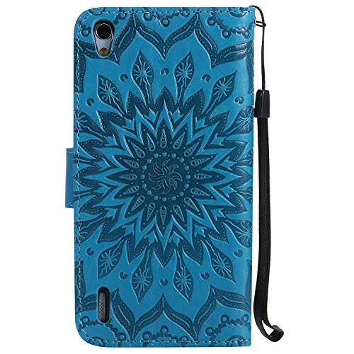 Meet de iphone SE /iphone 5S Coque PU Cuir Flip Housse, Soft TPU Protection Etui Souple Case Doux Silicone Bumper Case Cover Case Housse de Protection Etui Portefeuille Bumper Case [série de tournesol bleu