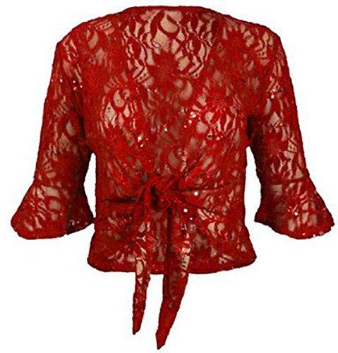 Coprispalle da donna, in pizzo, motivo floreale, con paillettes, maniche a tre quarti, taglie da 44 a 54 Red