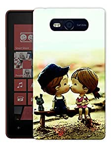 """Humor Gang Cute Couple Kissing Cartoon Printed Designer Mobile Back Cover For """"Nokia Lumia 820"""" (3D, Matte Finish, Premium Quality, Protective Snap On Slim Hard Phone Case, Multi Color)"""