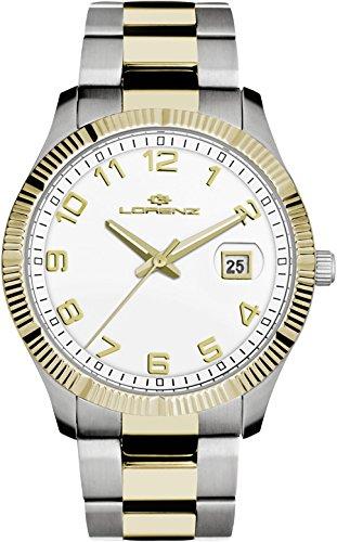 Uhr Lorenz Klassik 027063AA Quarz Stahl vergoldet gelb Quandrante weiß Armband Stahl
